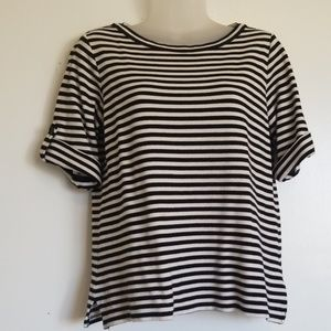 Theory striped short sleeve sweater